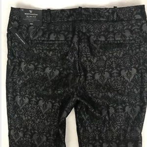 Womens Black Jacquard Worthington Slim Fit Skinny Ankle Pants Size 16P  NWT NEW